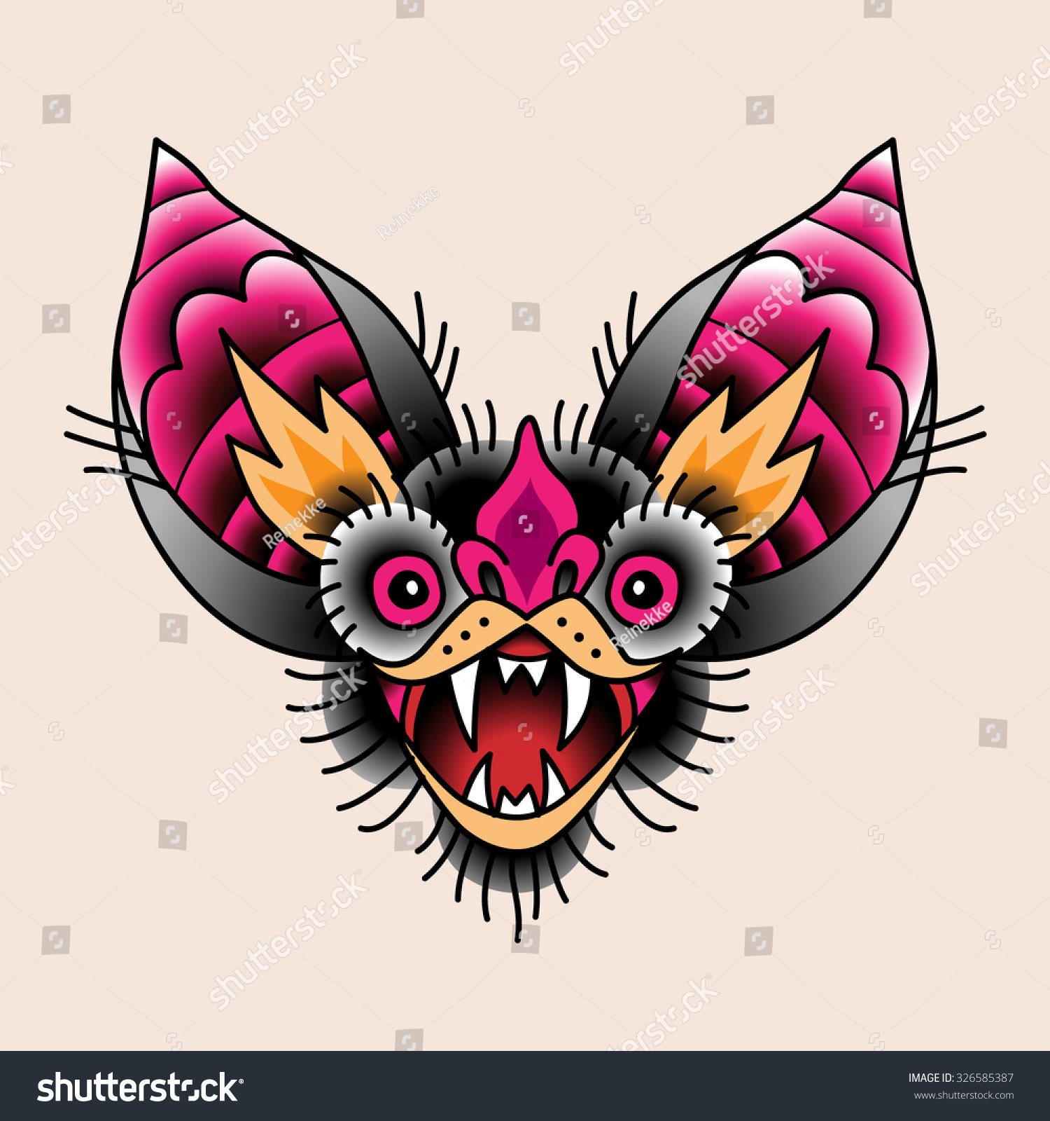 Head bat open mouth traditional tattoo stock vector 326585387 the head of a bat with open mouth traditional tattoo symbol for your design buycottarizona Choice Image