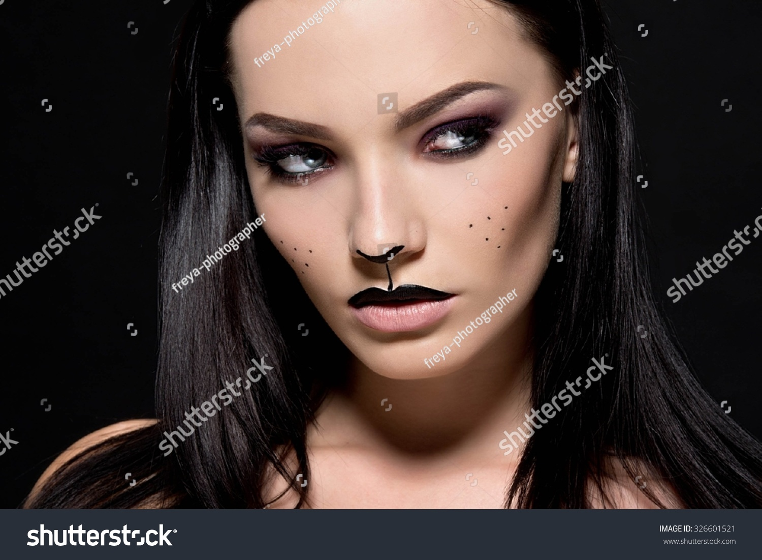 beautiful young woman dressed cat make stock photo (edit now