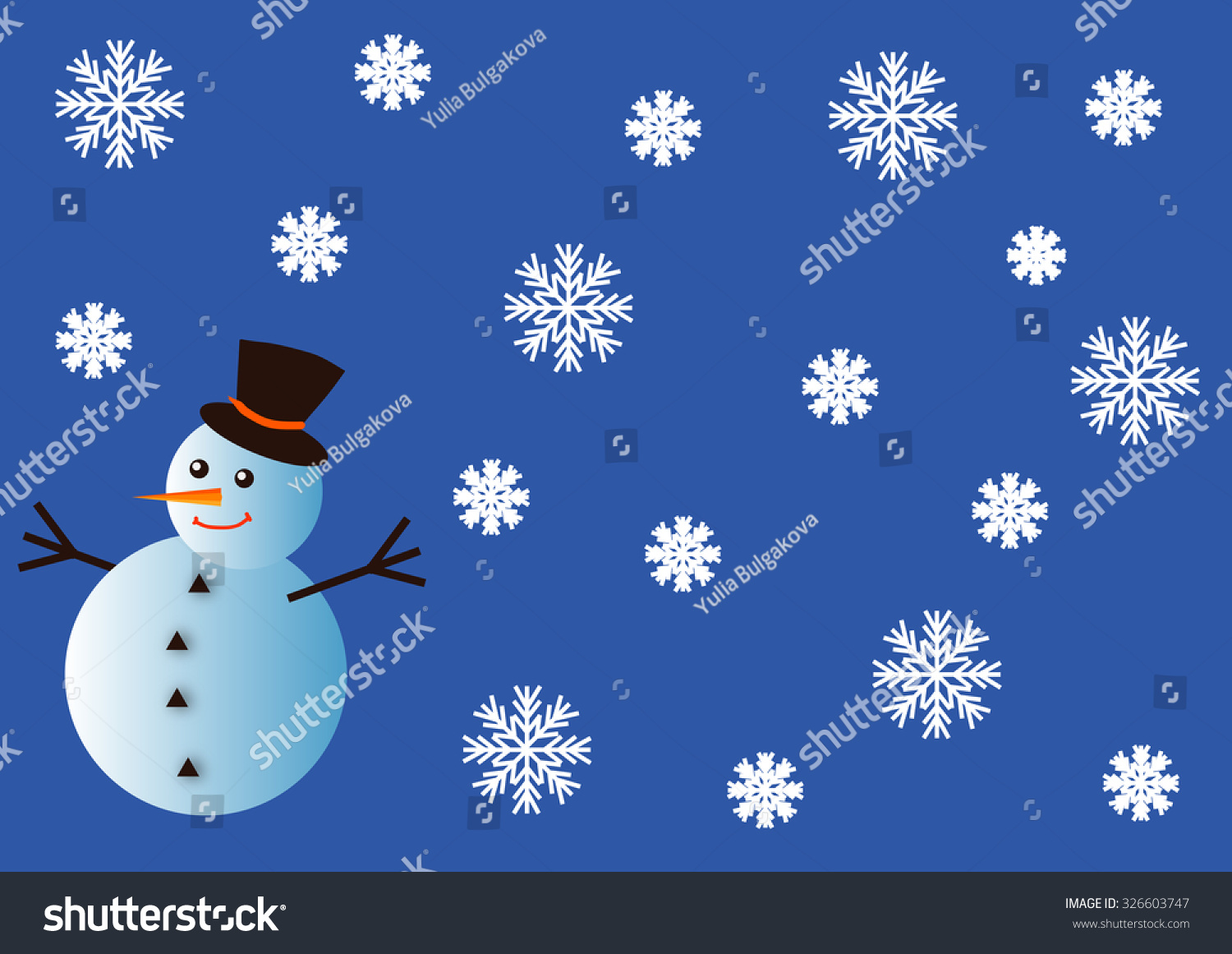 Funny Snowman Snowflakes On Blue Background Stock Vector Royalty