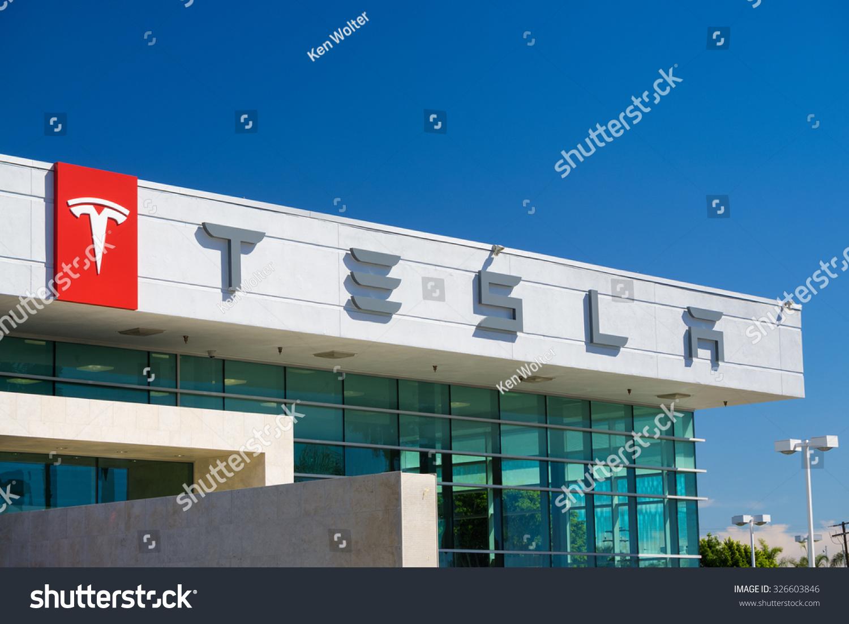 BUENA PARK, CA/USA   OCTOBER 10, 2015: Tesla Motors Automobile Dealership