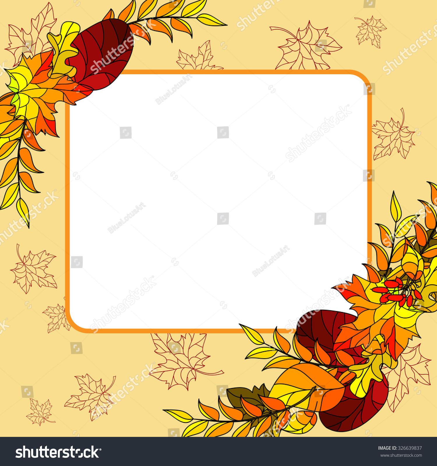 Invitation Greeting Card Template Autumn Leaves Vector – Greeting Card Template