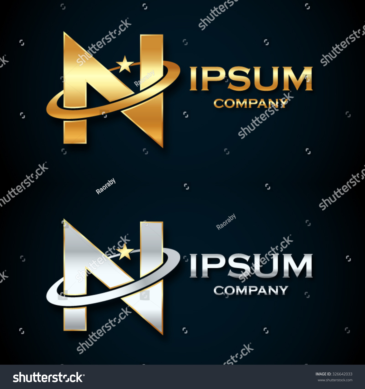 Abstract letter n logogold silver star stock vector 326642033 abstract letter n logogold and silver star symbolsign saturnring shape buycottarizona Image collections