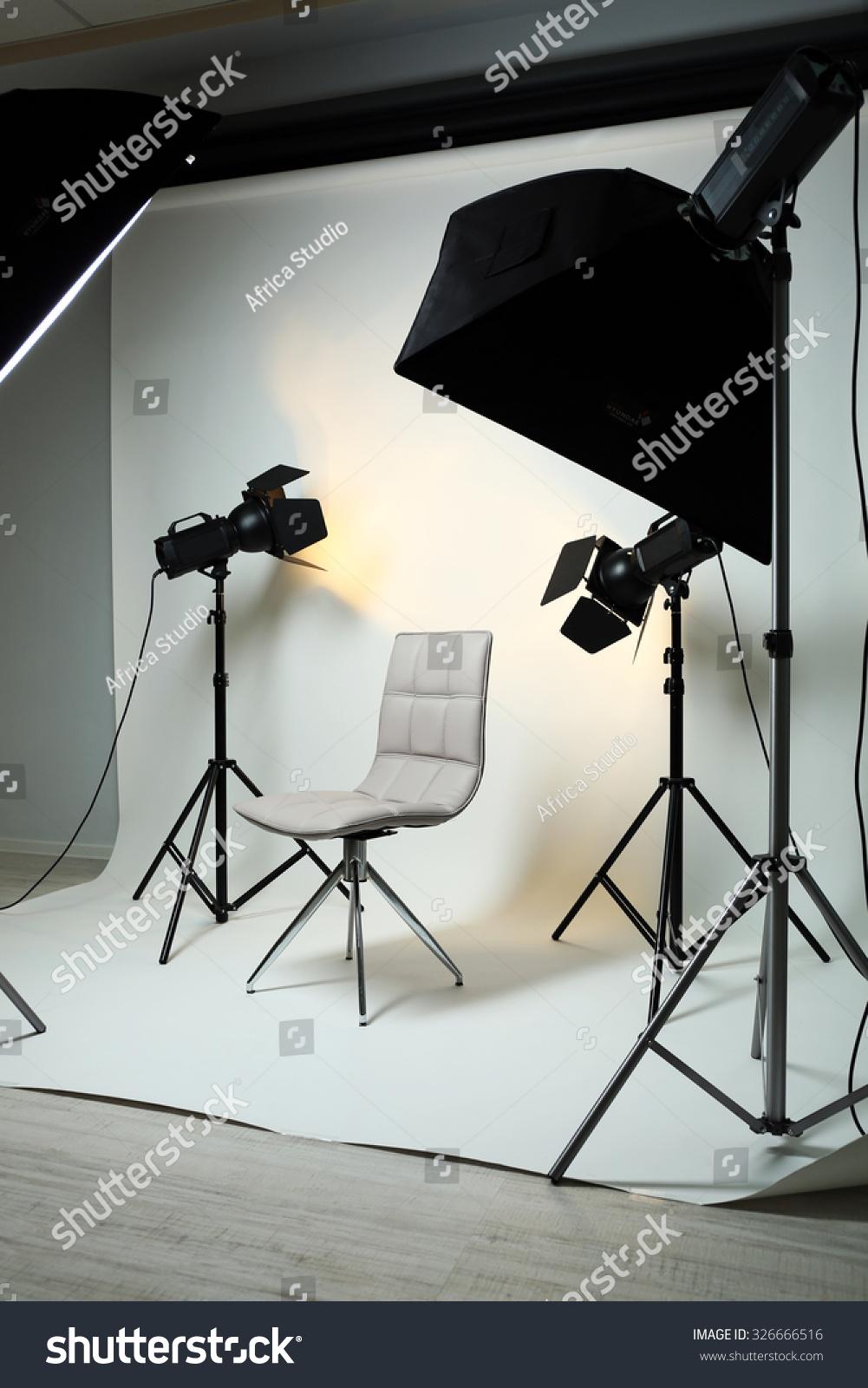 Photo Studio Modern Interior Lighting Equipment Stock Photo ...