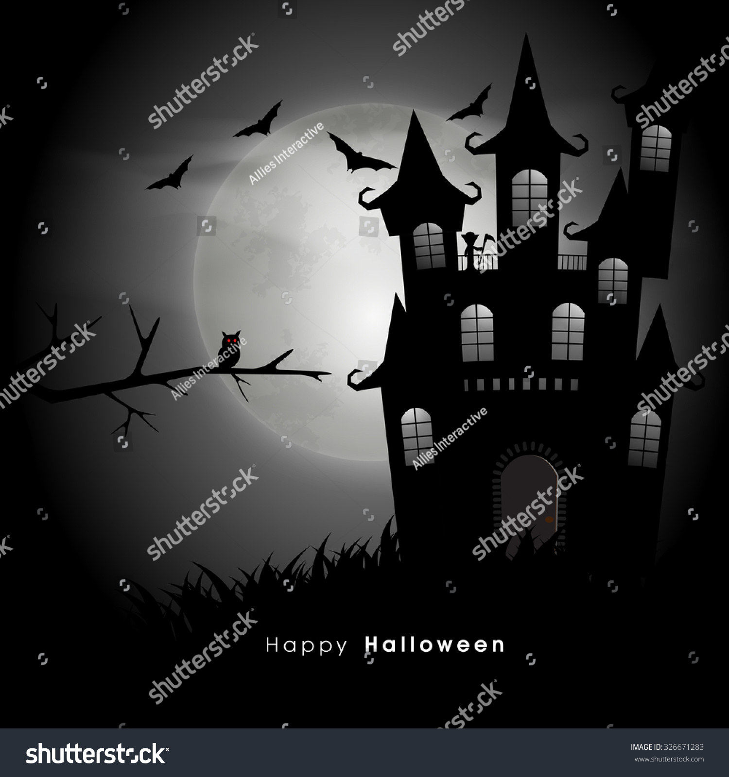 Happy Halloween Party Celebration Scary Haunted Stock Vector ...
