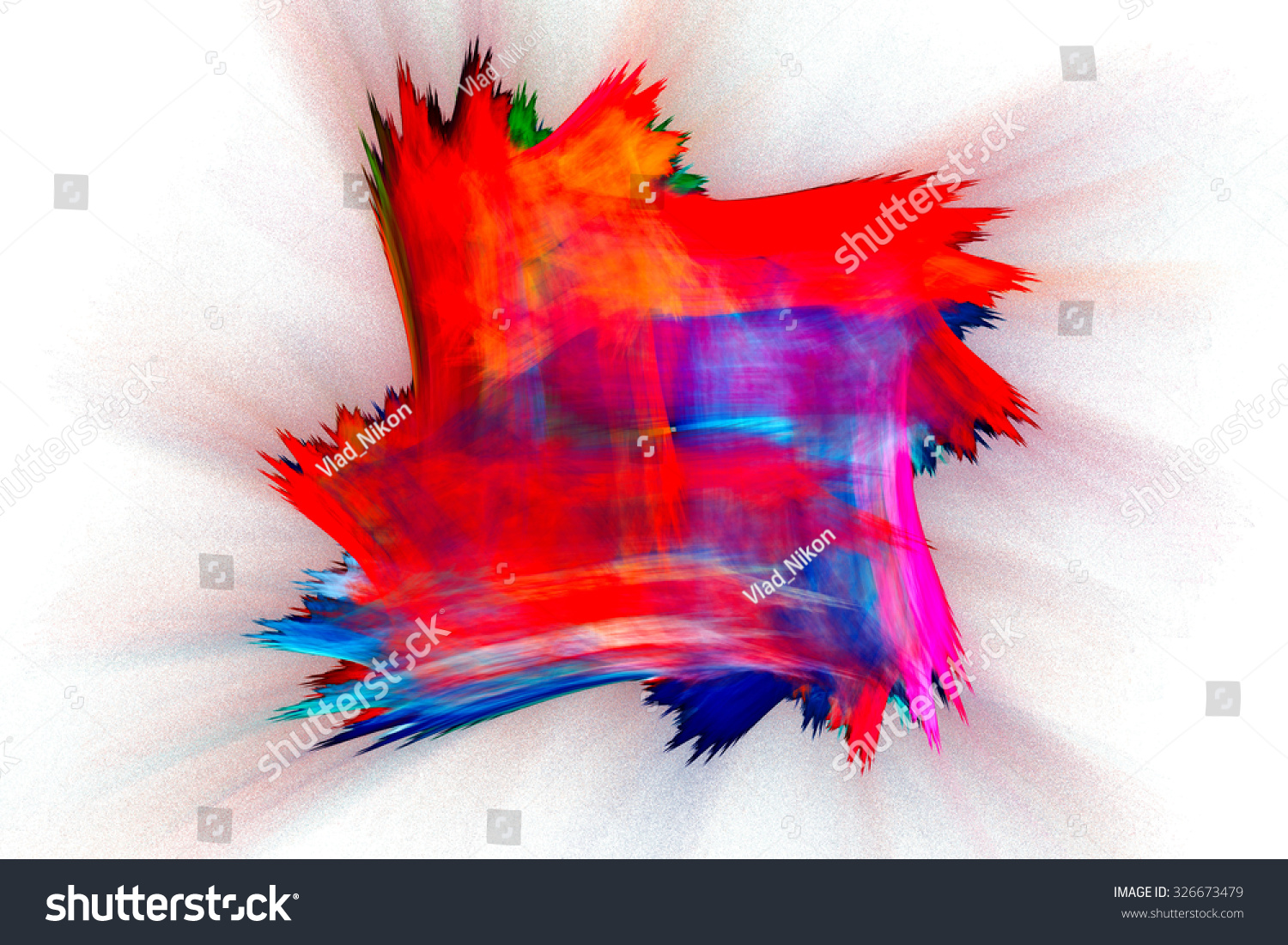 Multicolored Patch Cloth Figure Brush Fractal Stock Illustration