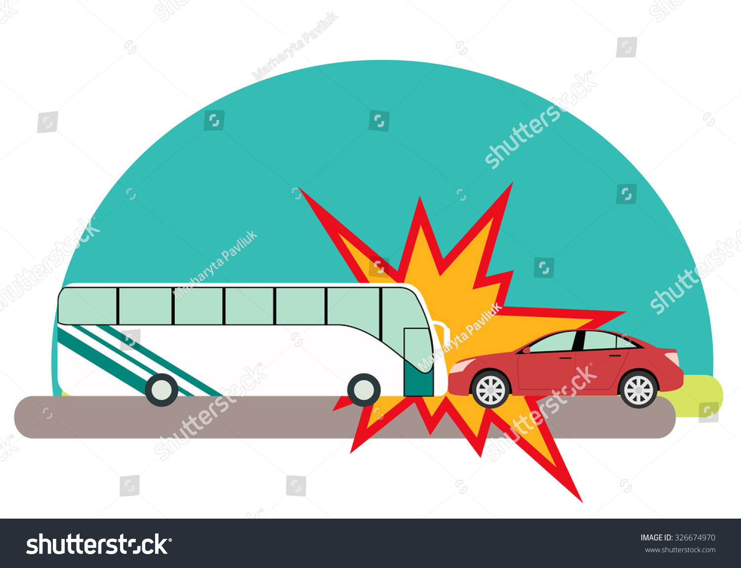 Road Accident Bus Passengers Crashed Into Stock Vector (Royalty Free ...