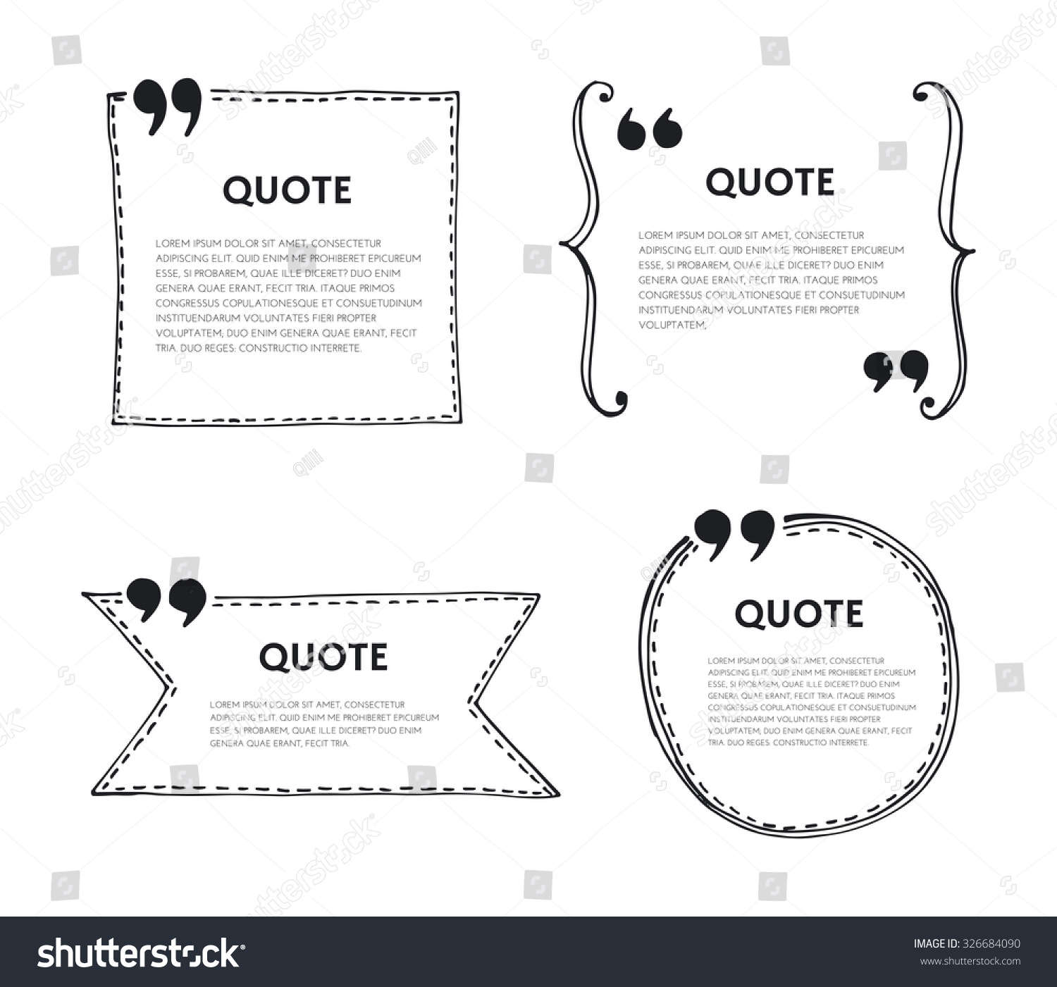 Quote text bubble Quote template with commas Design hand drawn vector element for quote