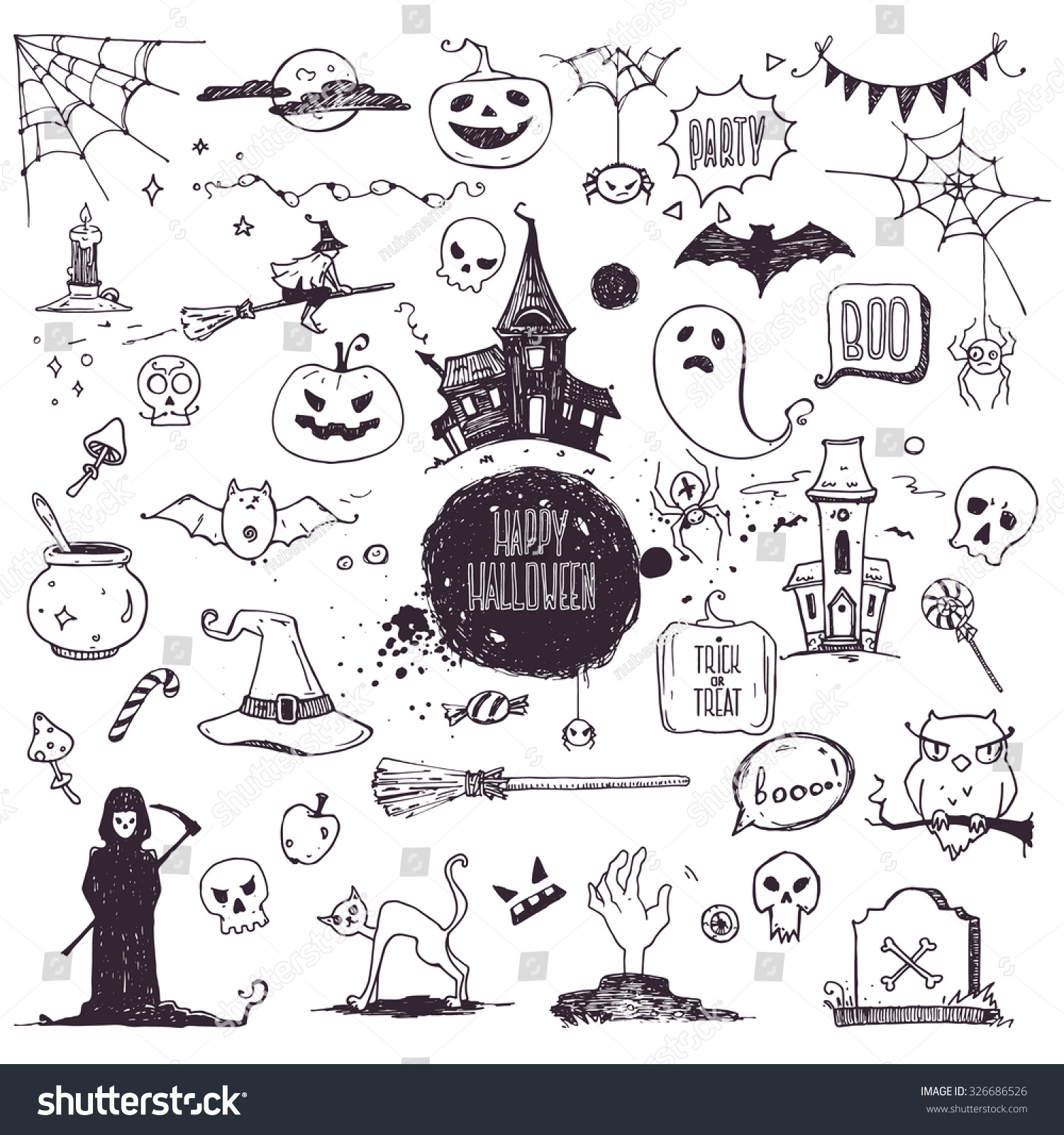 Hand drawn halloween traditional symbols doodle stock vector hand drawn halloween traditional symbols doodle style illustrations carved pumpkin spider webs biocorpaavc Choice Image