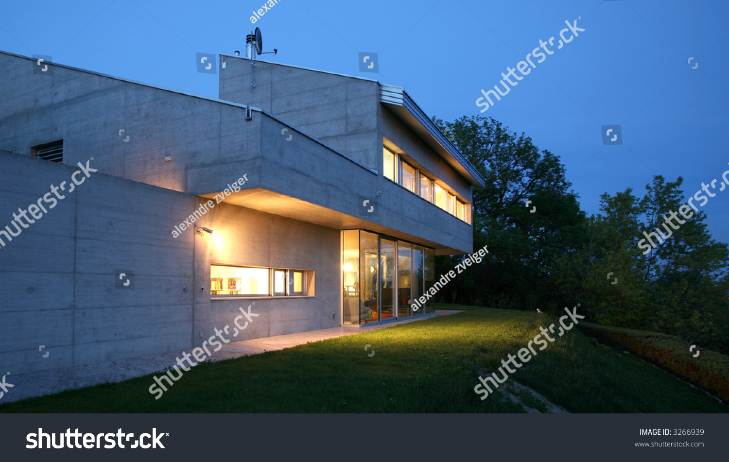 Modern house night stock photo 3266939 shutterstock for Modern house at night
