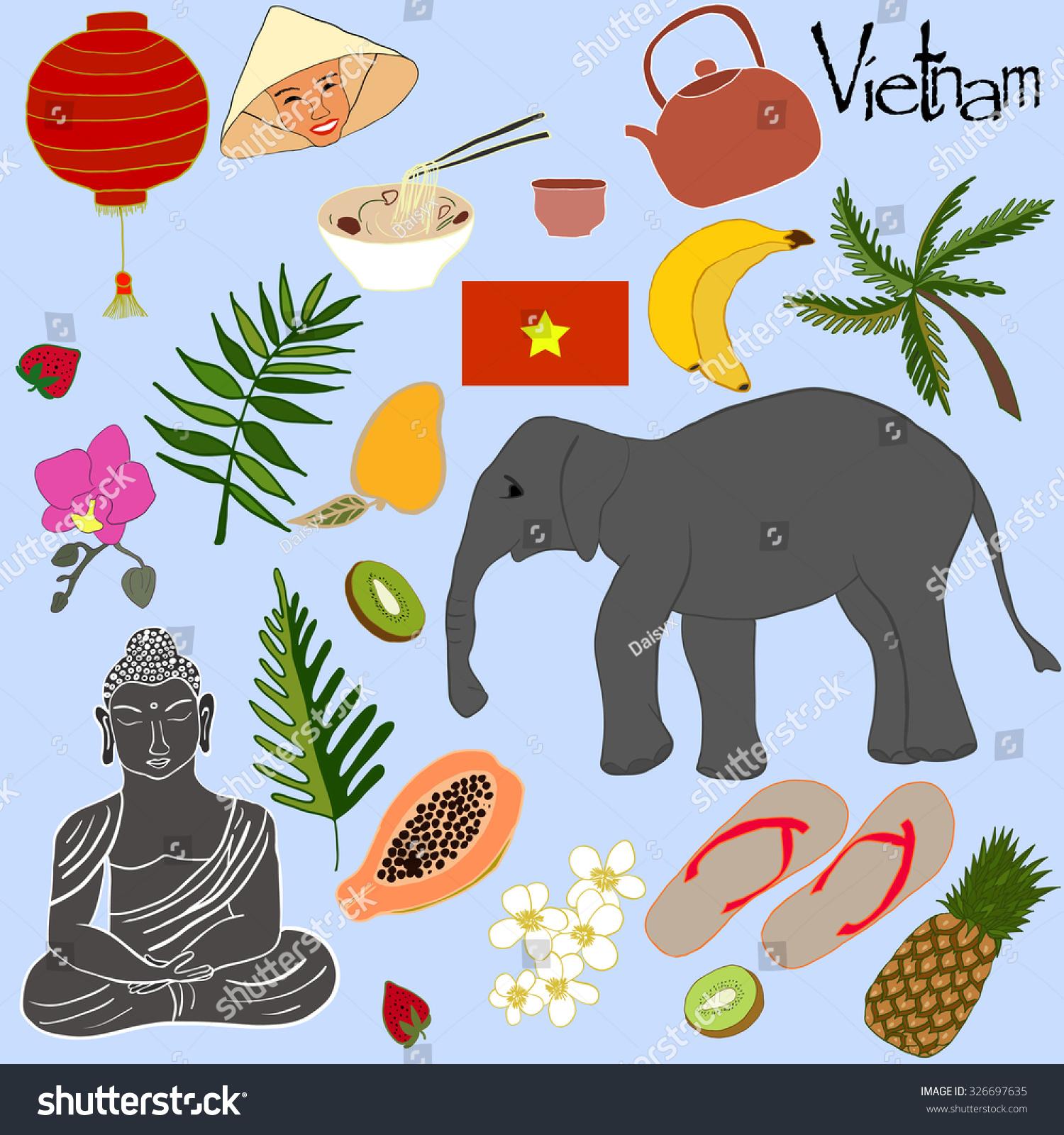 Doodled Symbols Vietnam Vector Vietnam Symbols Stock Vector