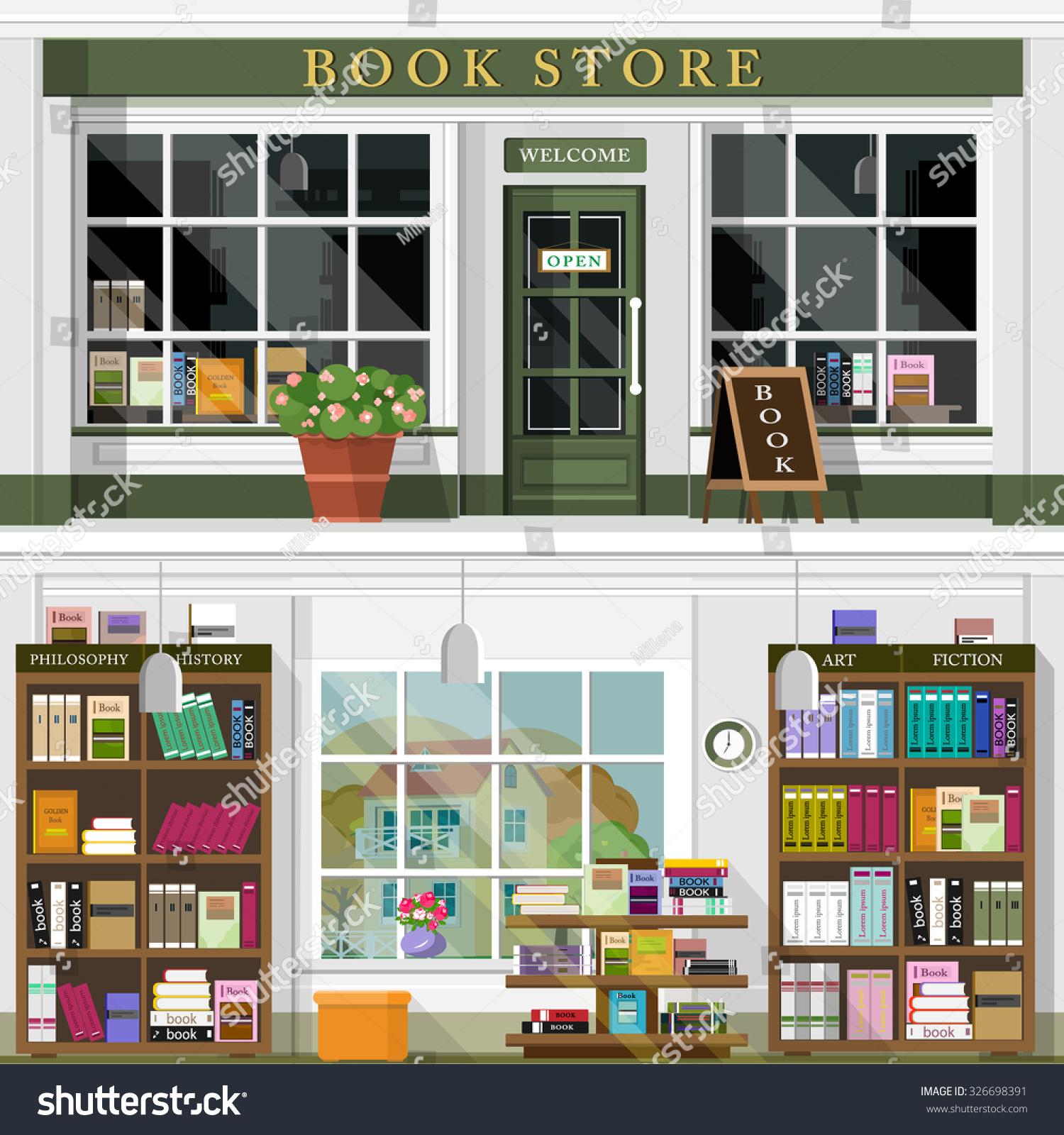 Set vector detailed flat design bookstore stock vector for Interior design video clips