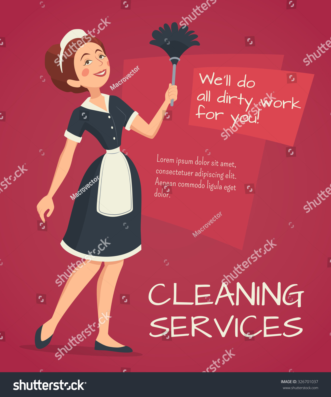 cleaning service advertisement cleaning w classic stock vector cleaning service advertisement cleaning w in classic maid dress cartoon vector illustration