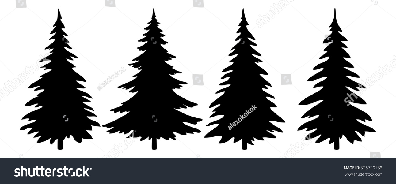 Christmas Trees Set, Black Pictogram Isolated On White