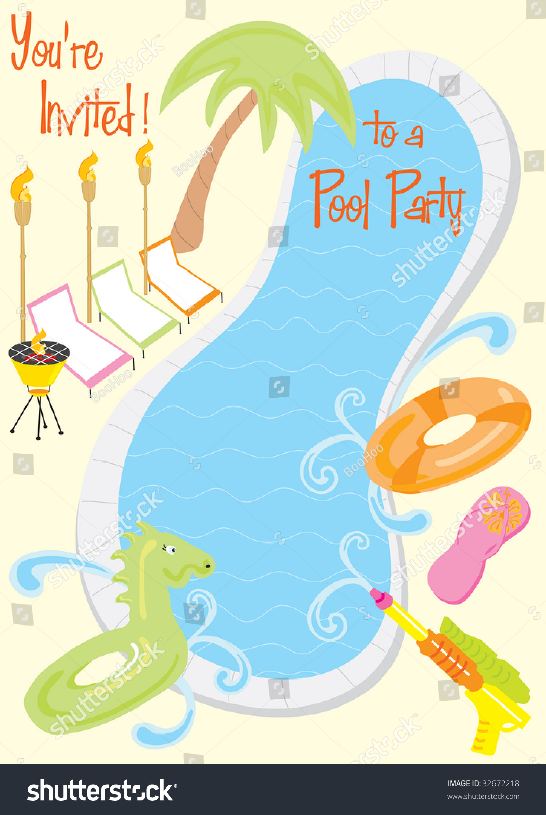 summer pool party invitation kids fun stock vector  summer pool party invitation for kids or fun adults room for your text
