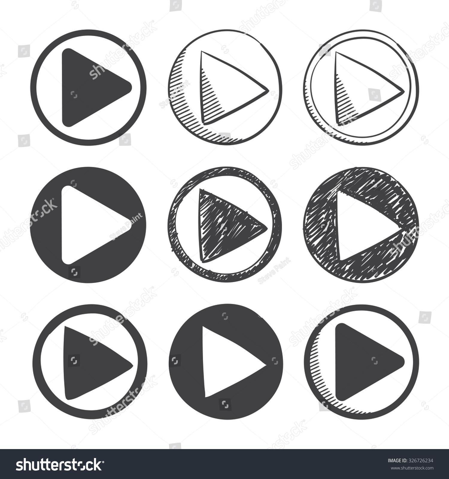 Nine Hand Drawn Material Design Play Stock Vector 326726234