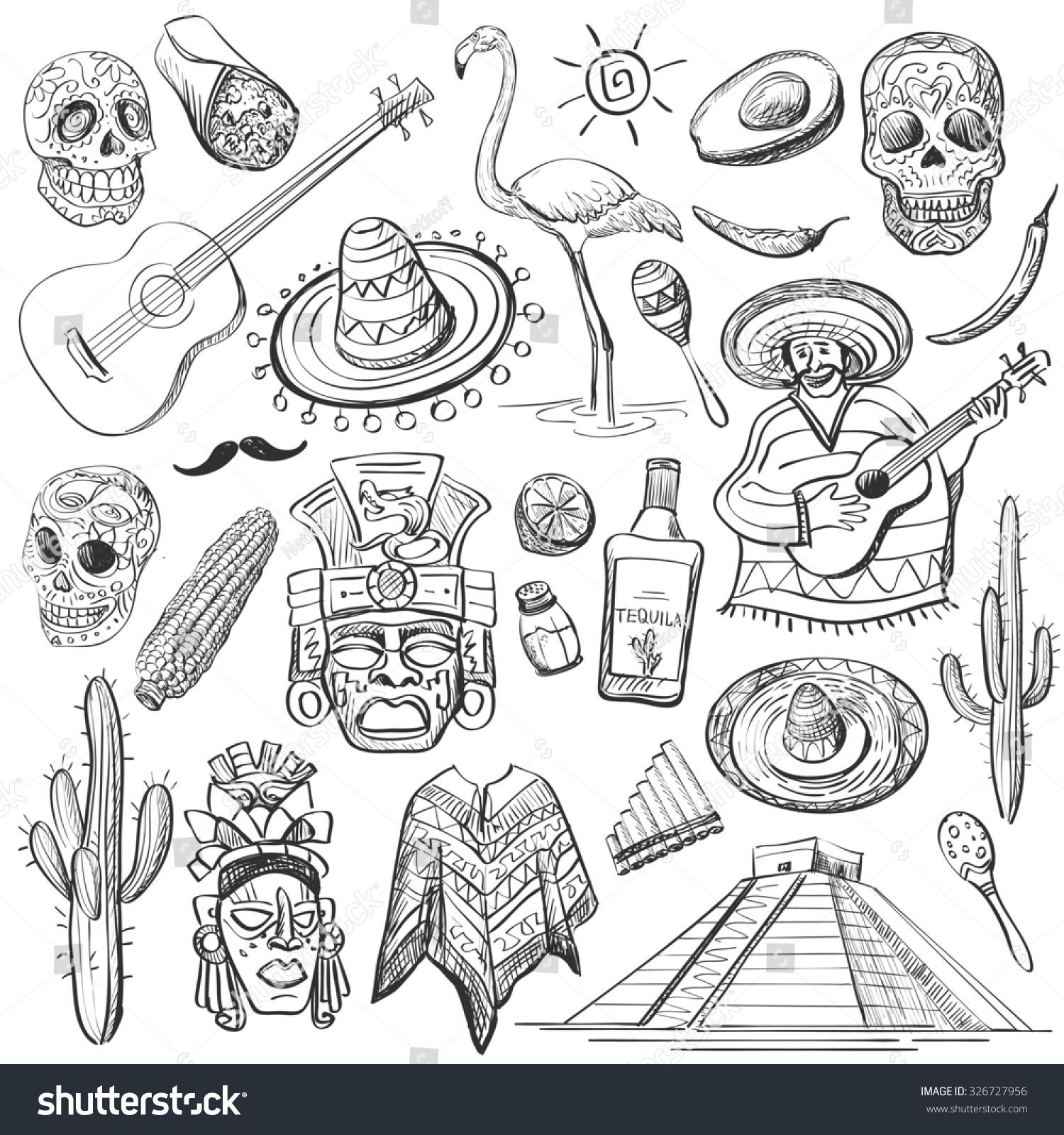 Hand drawn set mexican symbols guitar stock illustration 326727956 hand drawn set of mexican symbols guitar sombrero tequila taco skull biocorpaavc Gallery