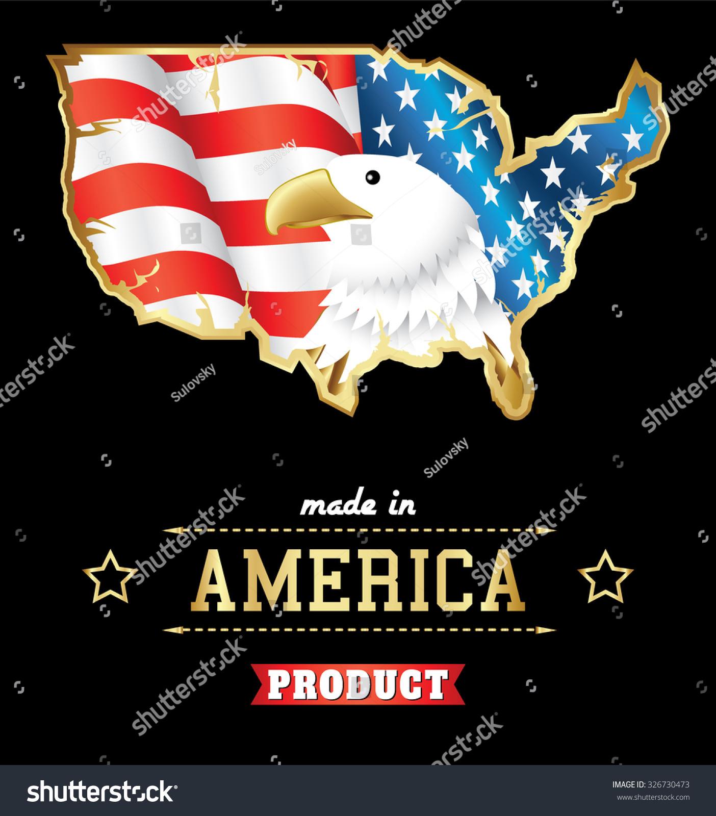 Made Usa Bold Eagle American Flag Stock Vector 326730473