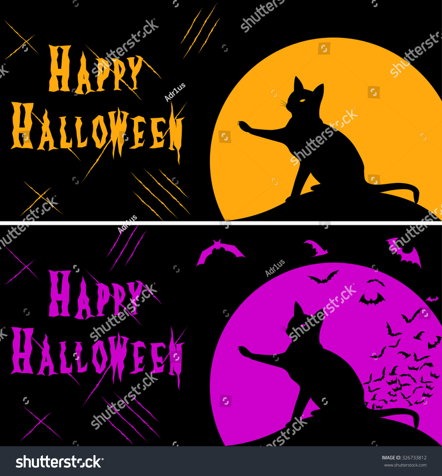 Two Halloween Card Black Cat Silhouette Stock Vector 326733812 ...