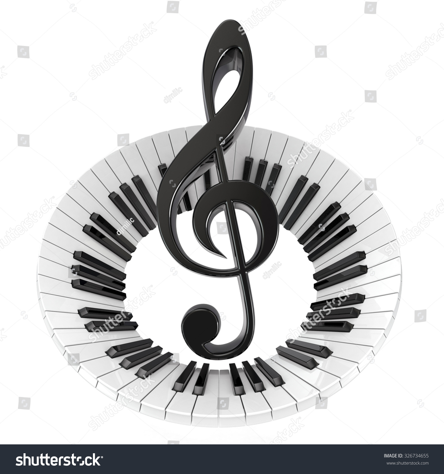 Treble Clef Abstract Piano Keyboard Symbol Stock Illustration