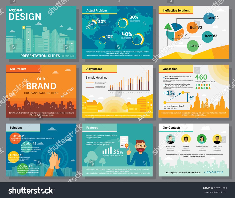 urban design infographics presentation slides template のベクター
