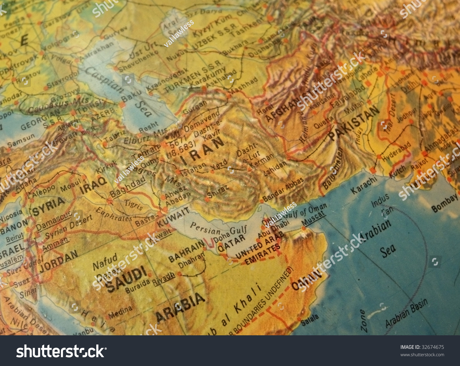 Detail Vintage Map Showing Middle East Stock Photo 32674675