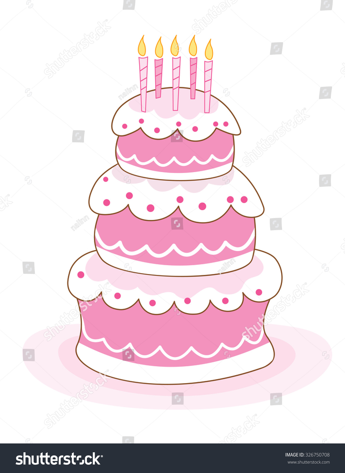 Colorful Layered Birthday Cake Candles Illustration Stock