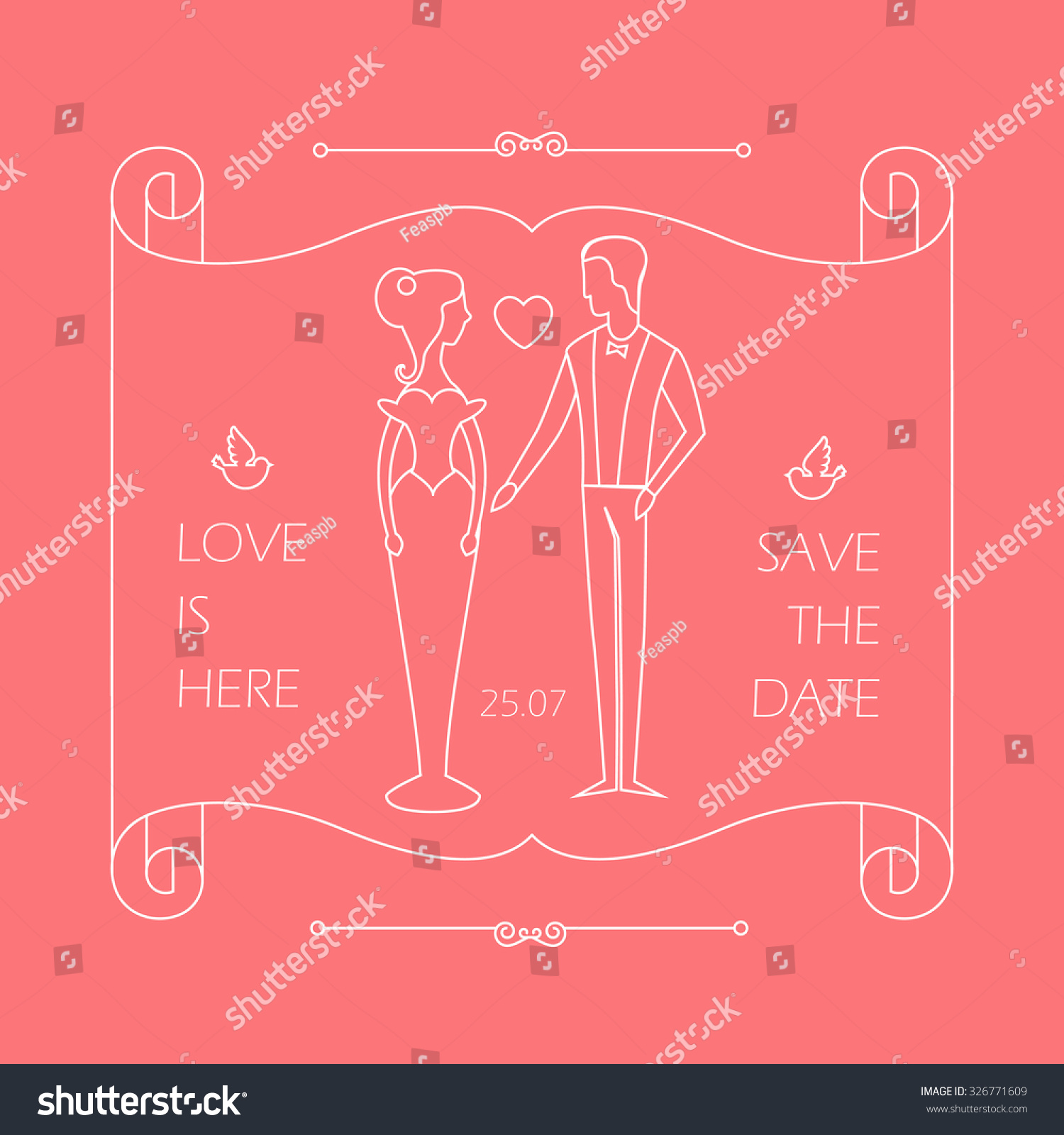 Vintage Wedding Invitation Groom Bride Trendy Stock Vector 326771609 ...
