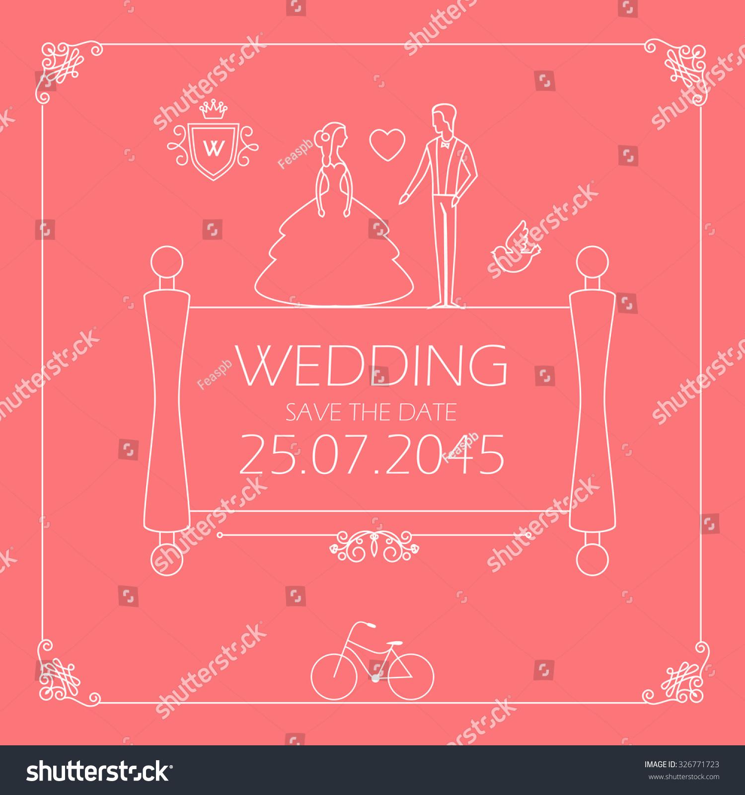 Vintage Wedding Invitation Groom Bride Trendy Stock Vector (2018 ...