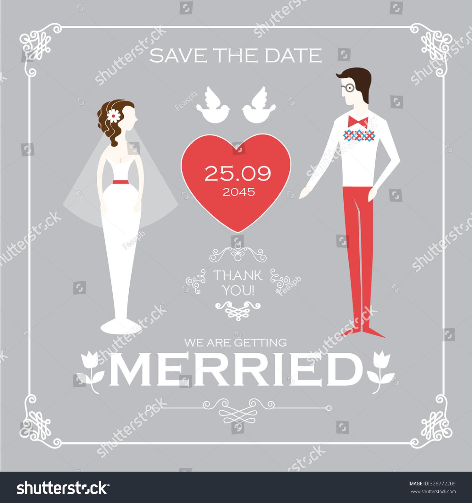 Vintage Wedding Invitation Card Template Groom Stock Vector (Royalty ...
