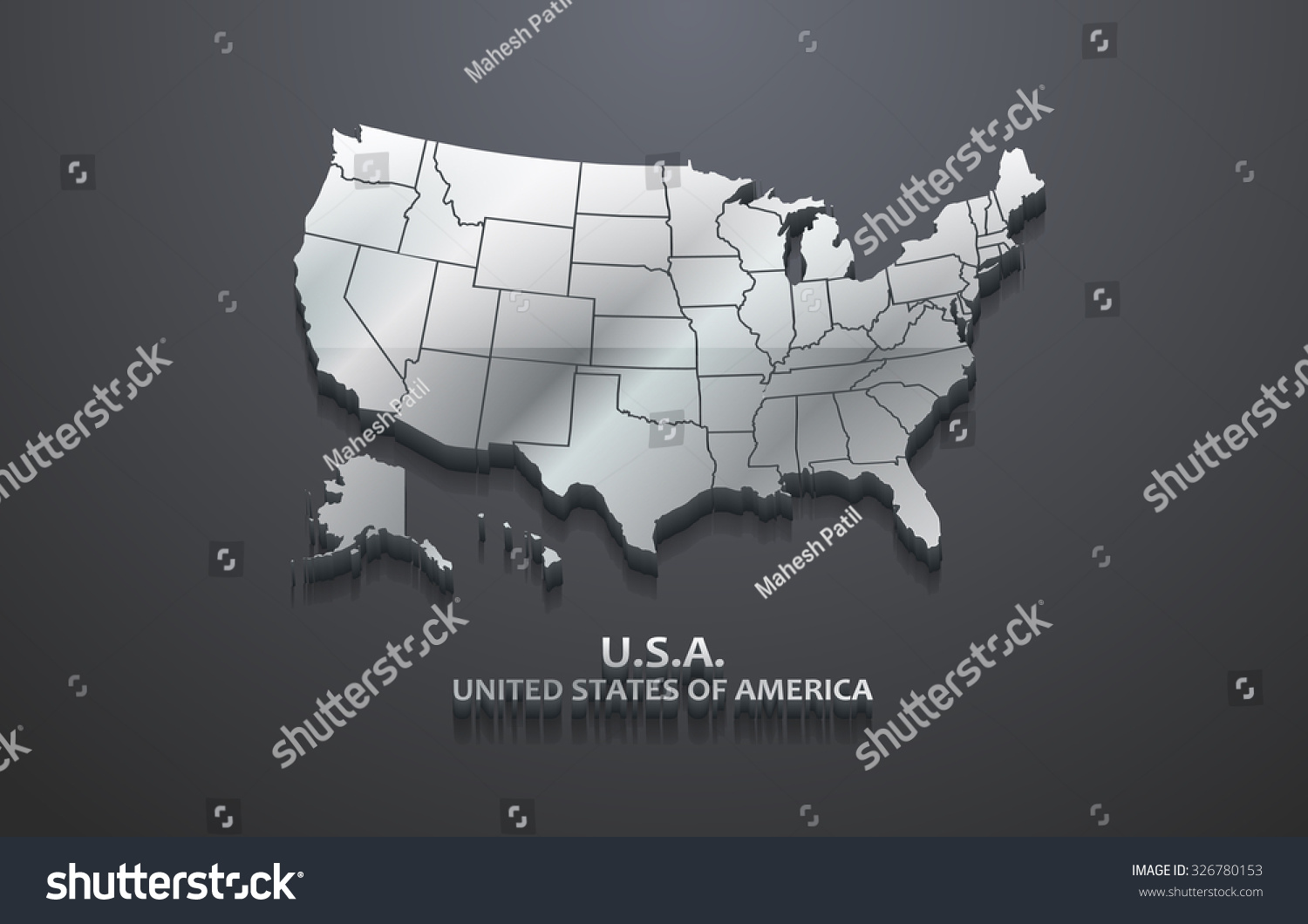 Picture of: 3d Metallic United States Map Stock Vector Royalty Free 326780153