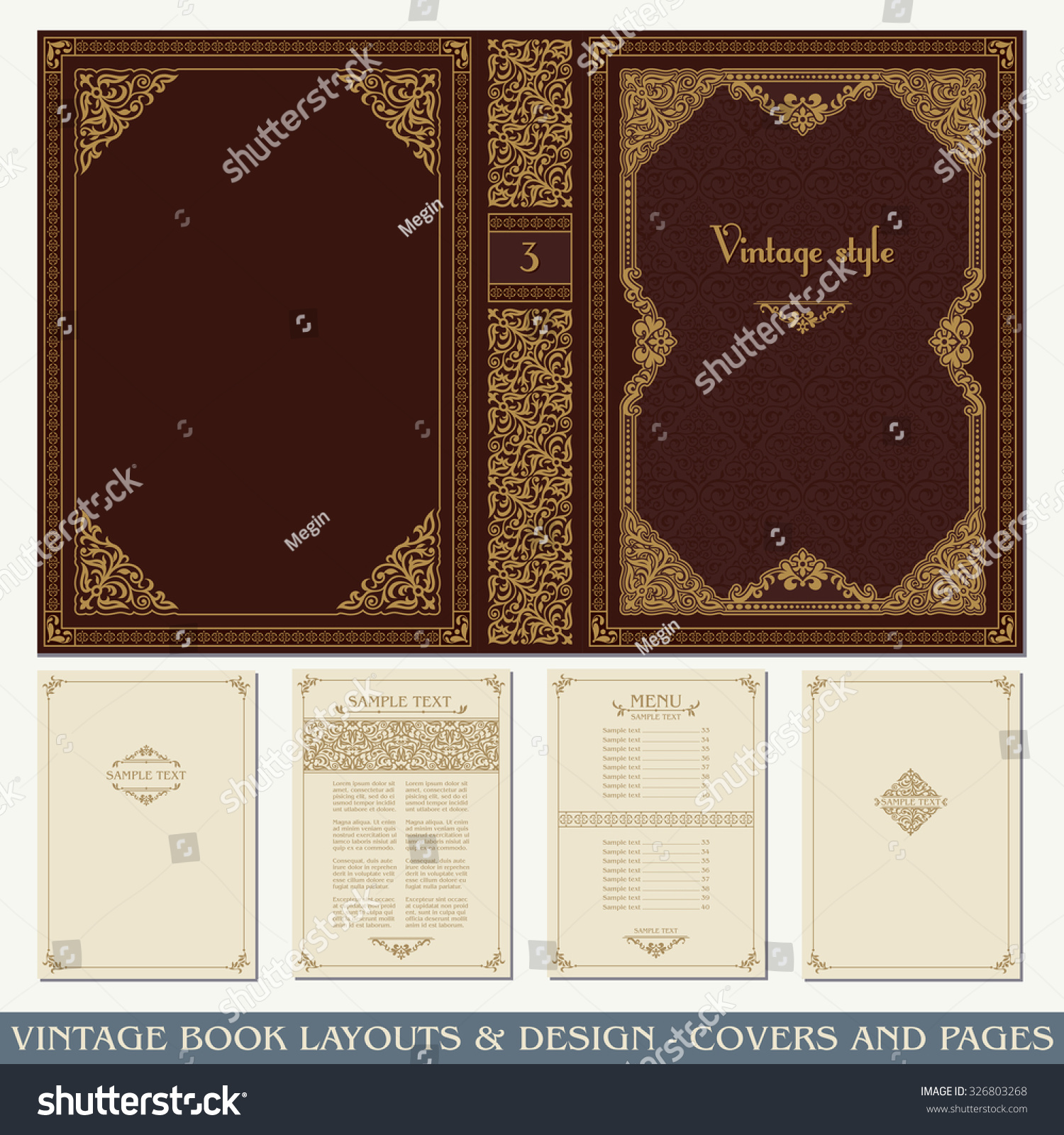 Book Cover Page Layout : Vintage book layouts design covers pages stock vector