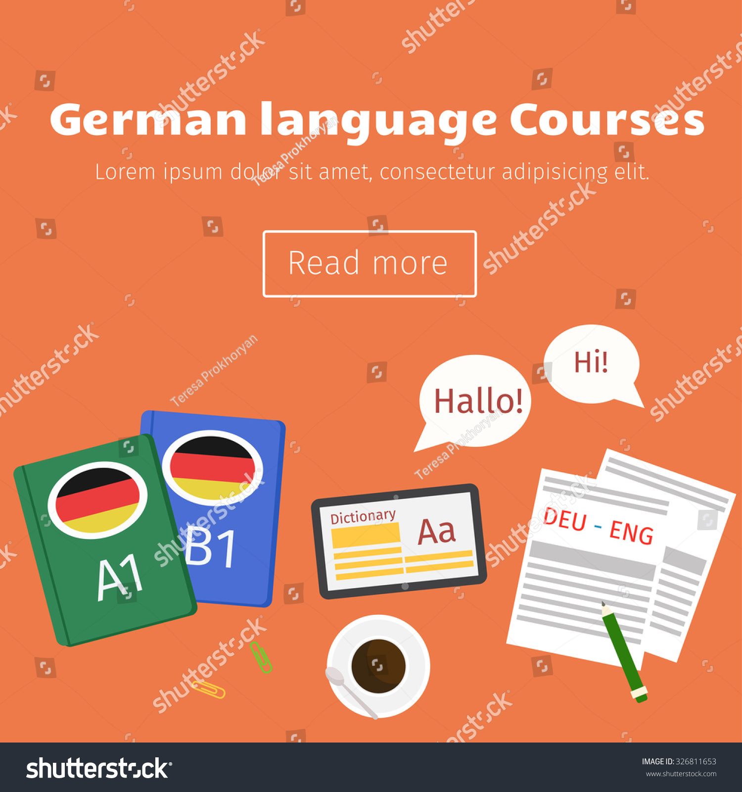 Web Banner German Language Courses Phrase Stock Vector Royalty Free