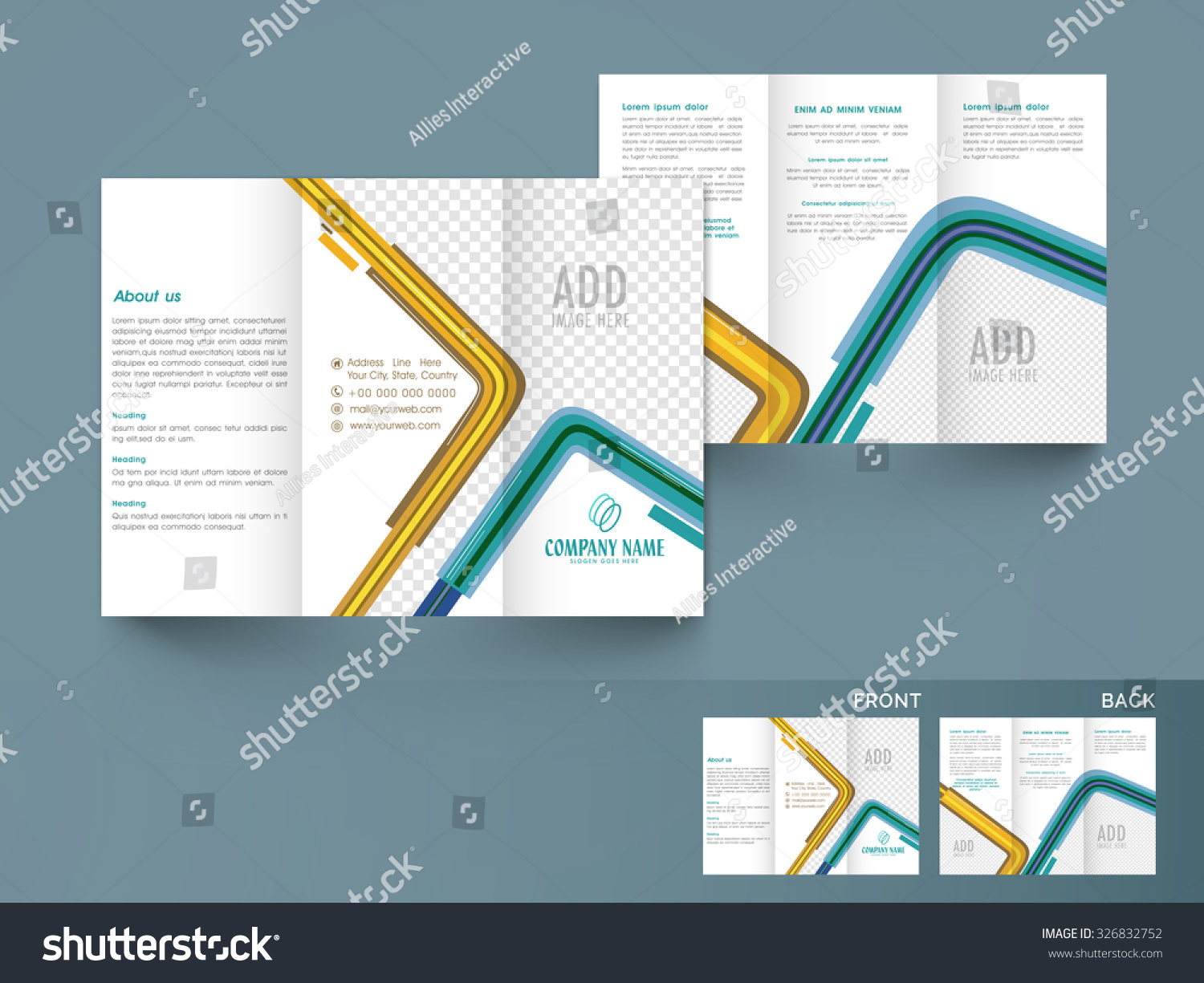 front back side presentation abstract trifold stock vector royalty