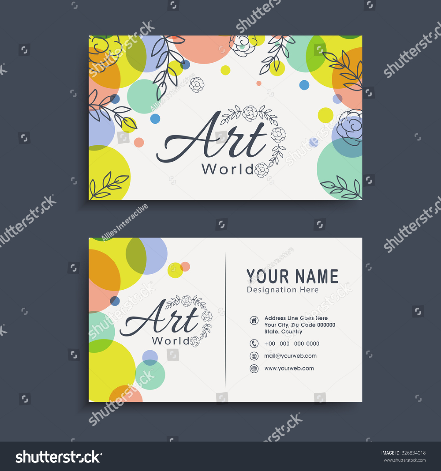 creative two sided horizontal business card stock vector 326834018