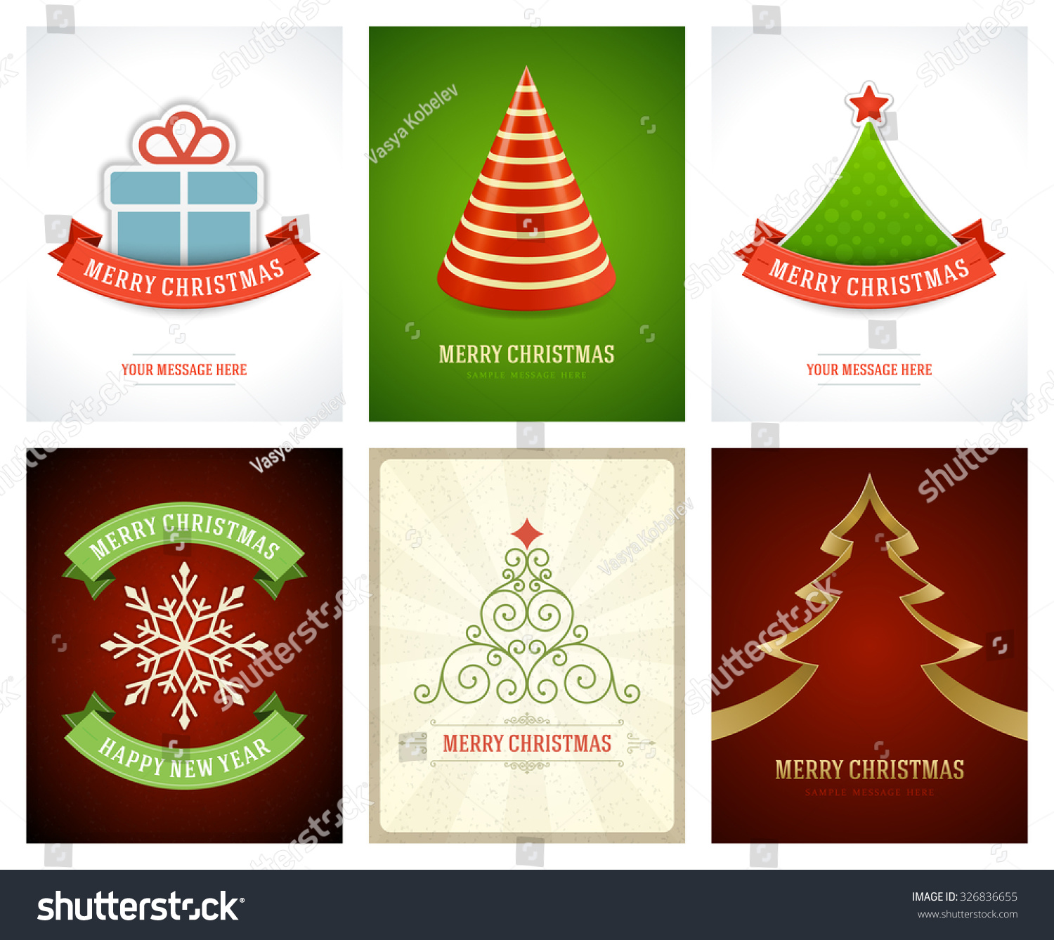 Christmas Greetings Cards Vector Backgrounds Set Stock Vector
