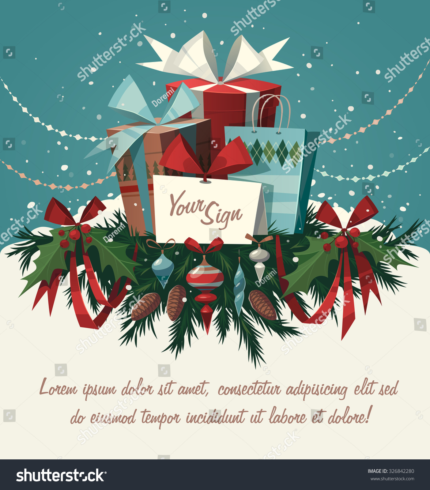 decorations gifts christmas greeting card background stock vector