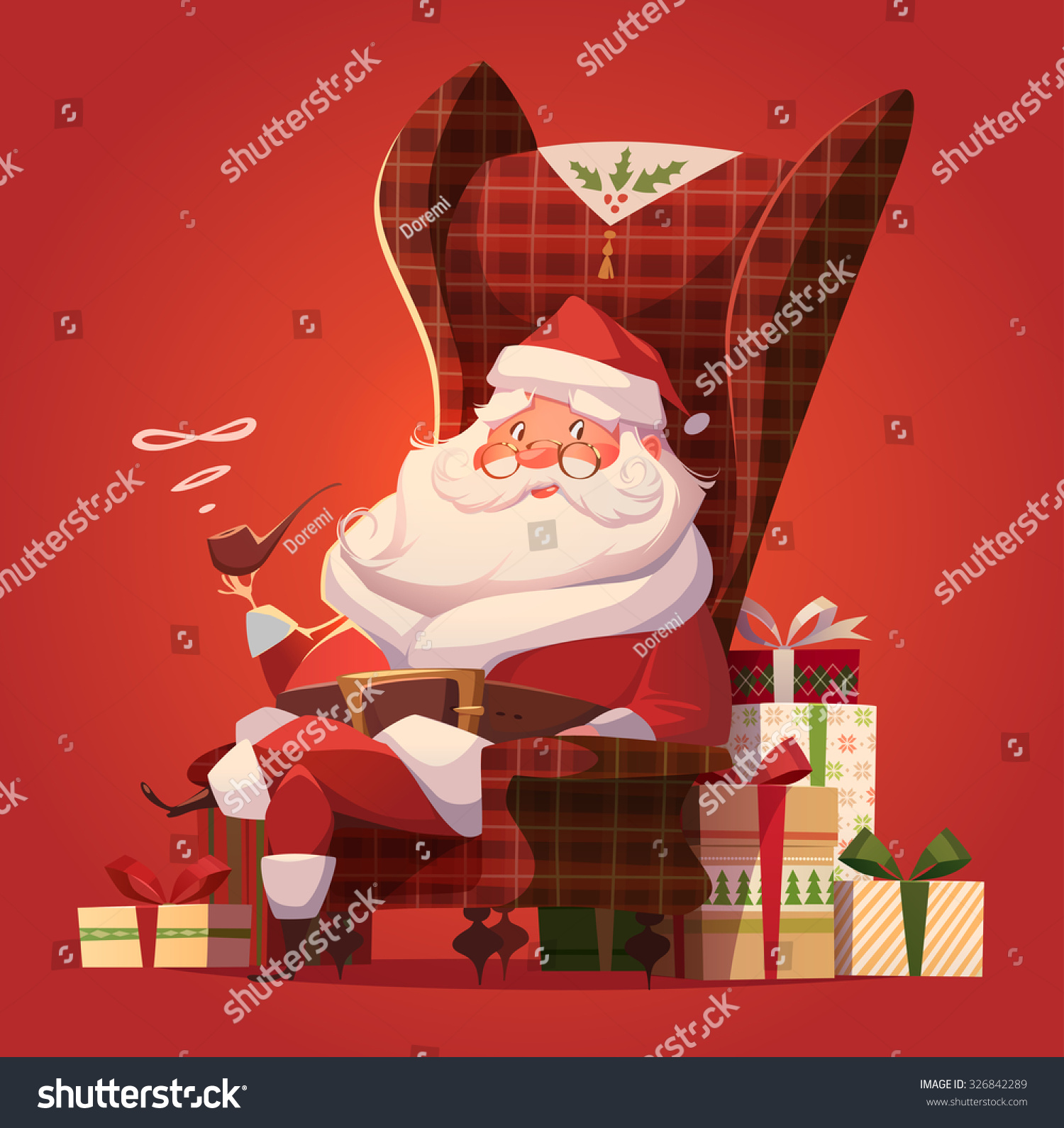 santa chair christmas greeting card background stock vector