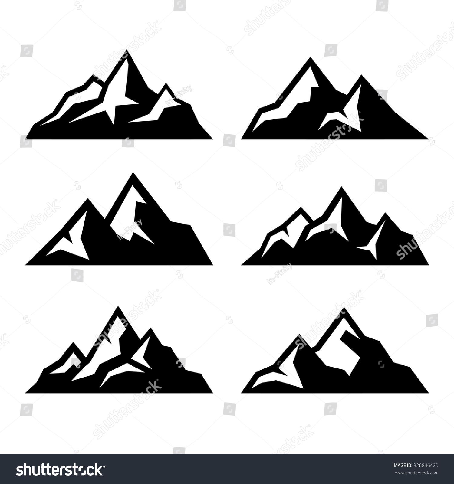 Mountain Icons Set On White Background Stock Vector ...