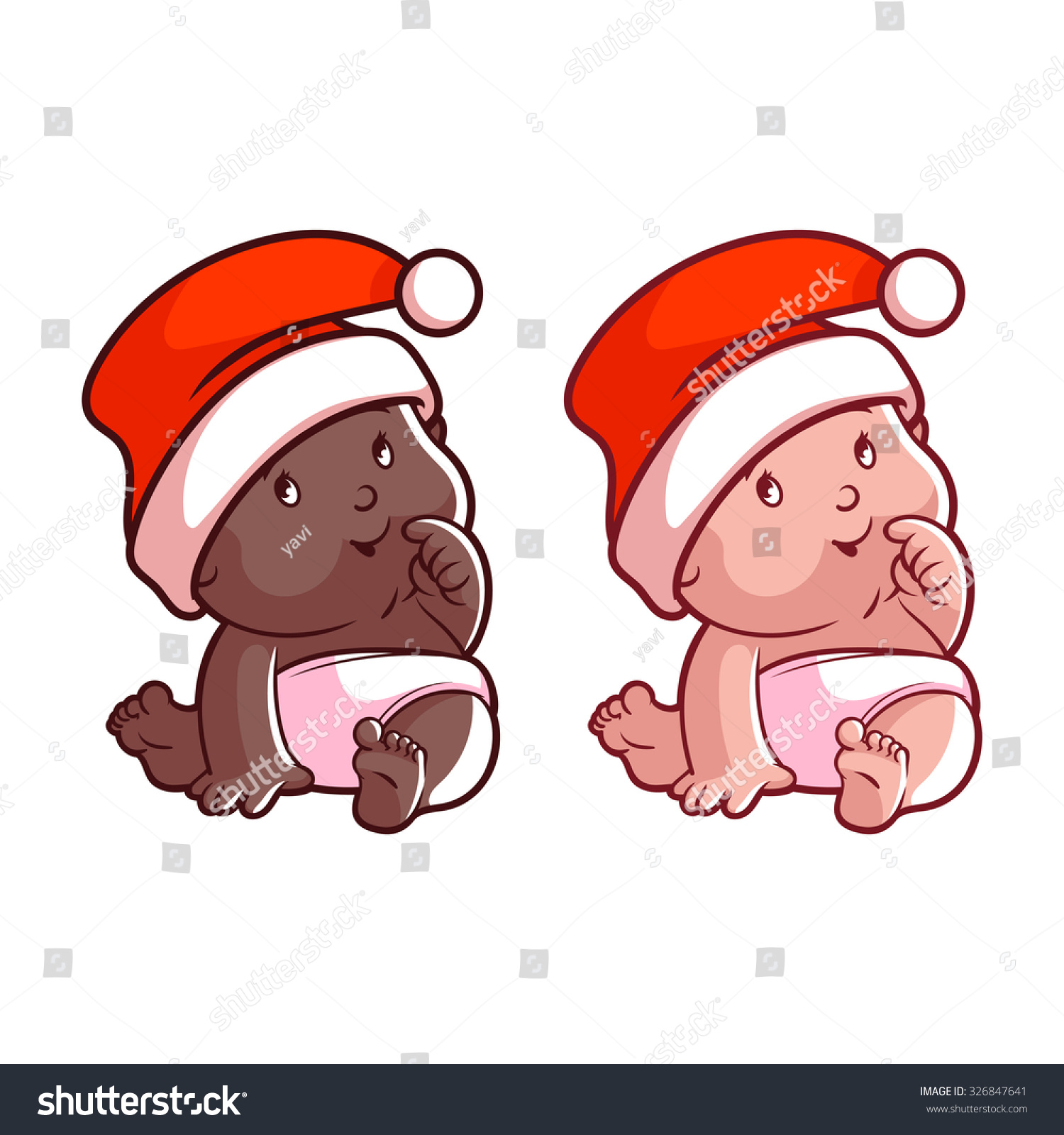 Two Cute Baby Christmas Hat Diaper Stock Vector 326847641 ...