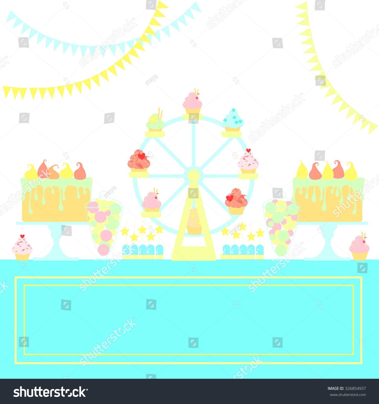 ferris wheel cupcake stand sweet table stock vector