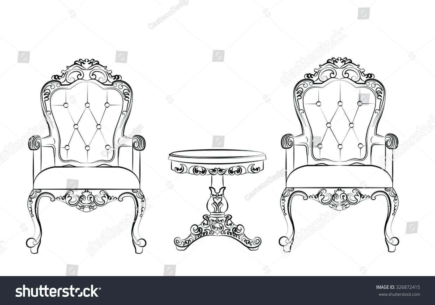 Rococo furniture sketch - Set Of Classic Furniture With Rich Baroque Ornaments Vector