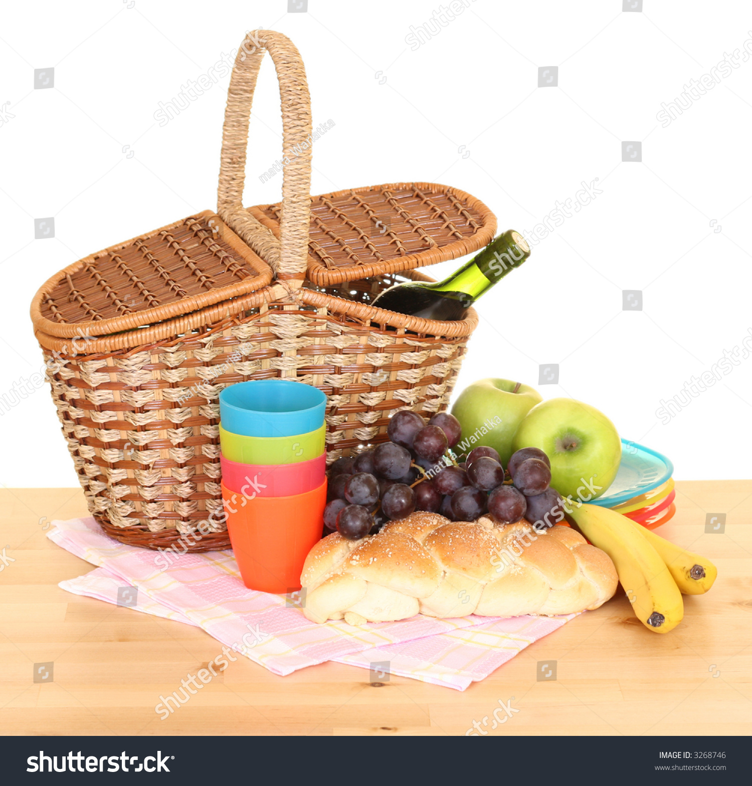 Picnic Basket Food : Picnic basket food ready pack isolated stock photo