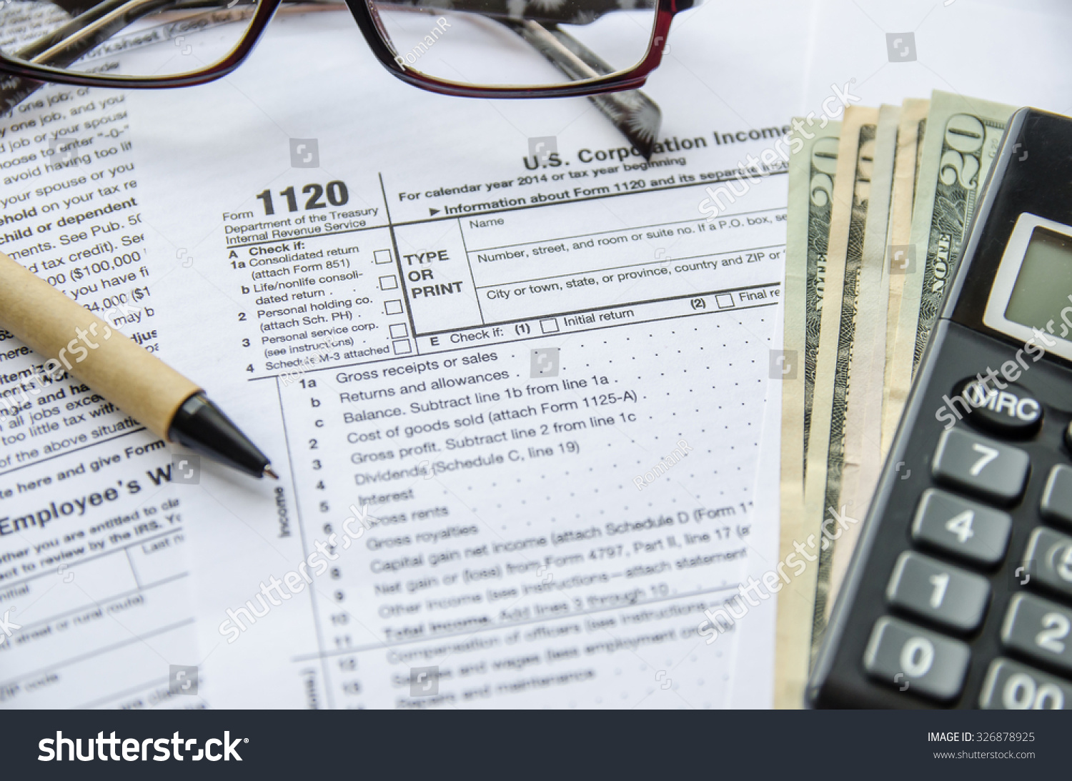 Form 1120 Corporate Tax Return Stock Photo 326878925 - Shutterstock