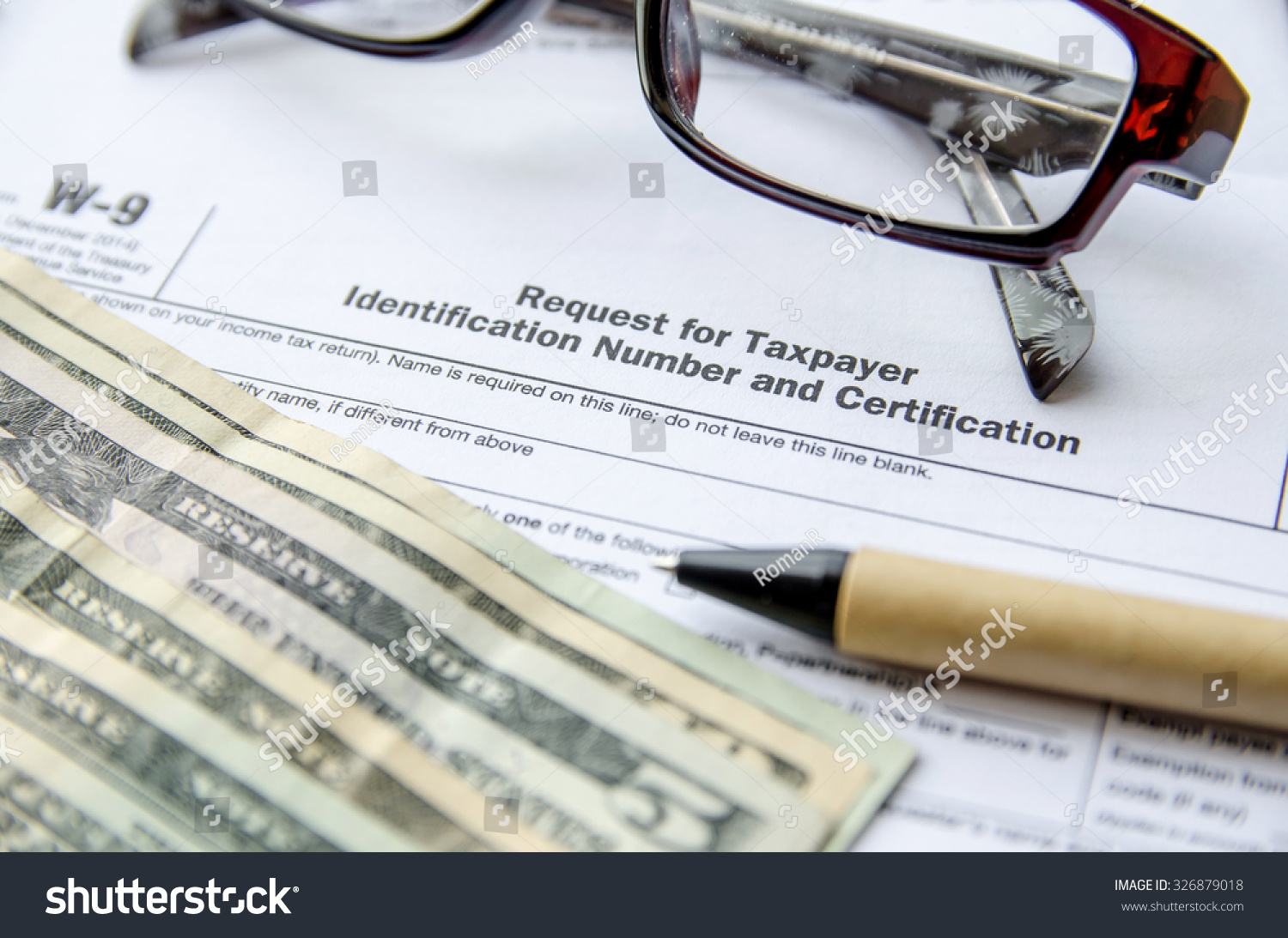 W 9 Form Request Taxpayer Indentification Number Stock Photo