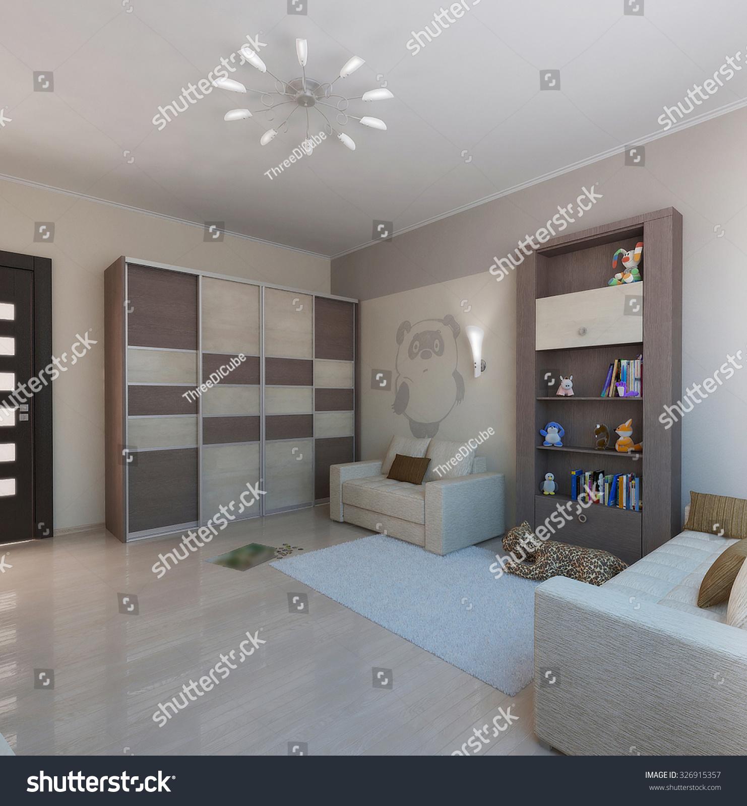 Exterior: Children Room Minimalist Style Interior Design, 3d Render