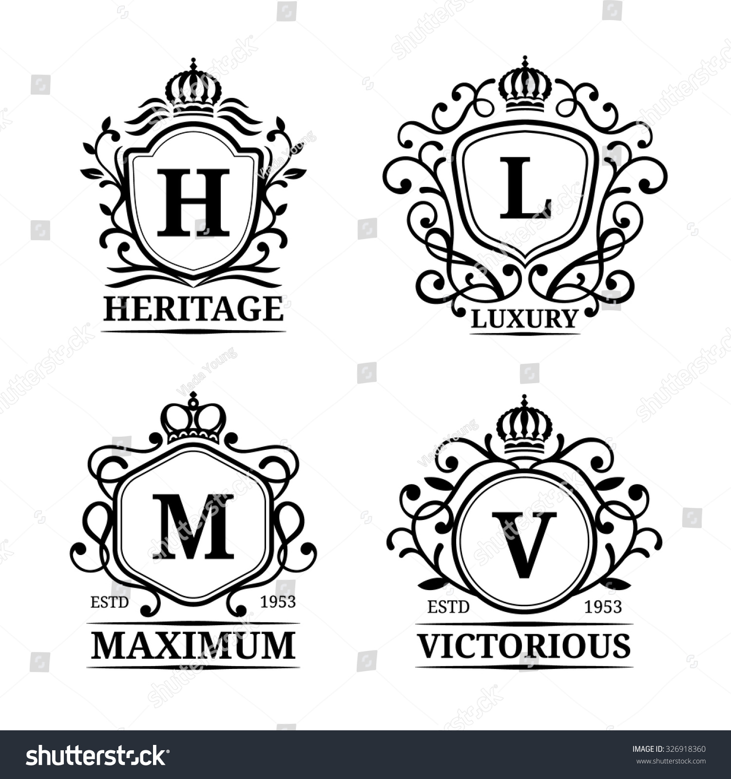 vector monogram logo templates luxury letters design graceful vintage characters with crowns illustration