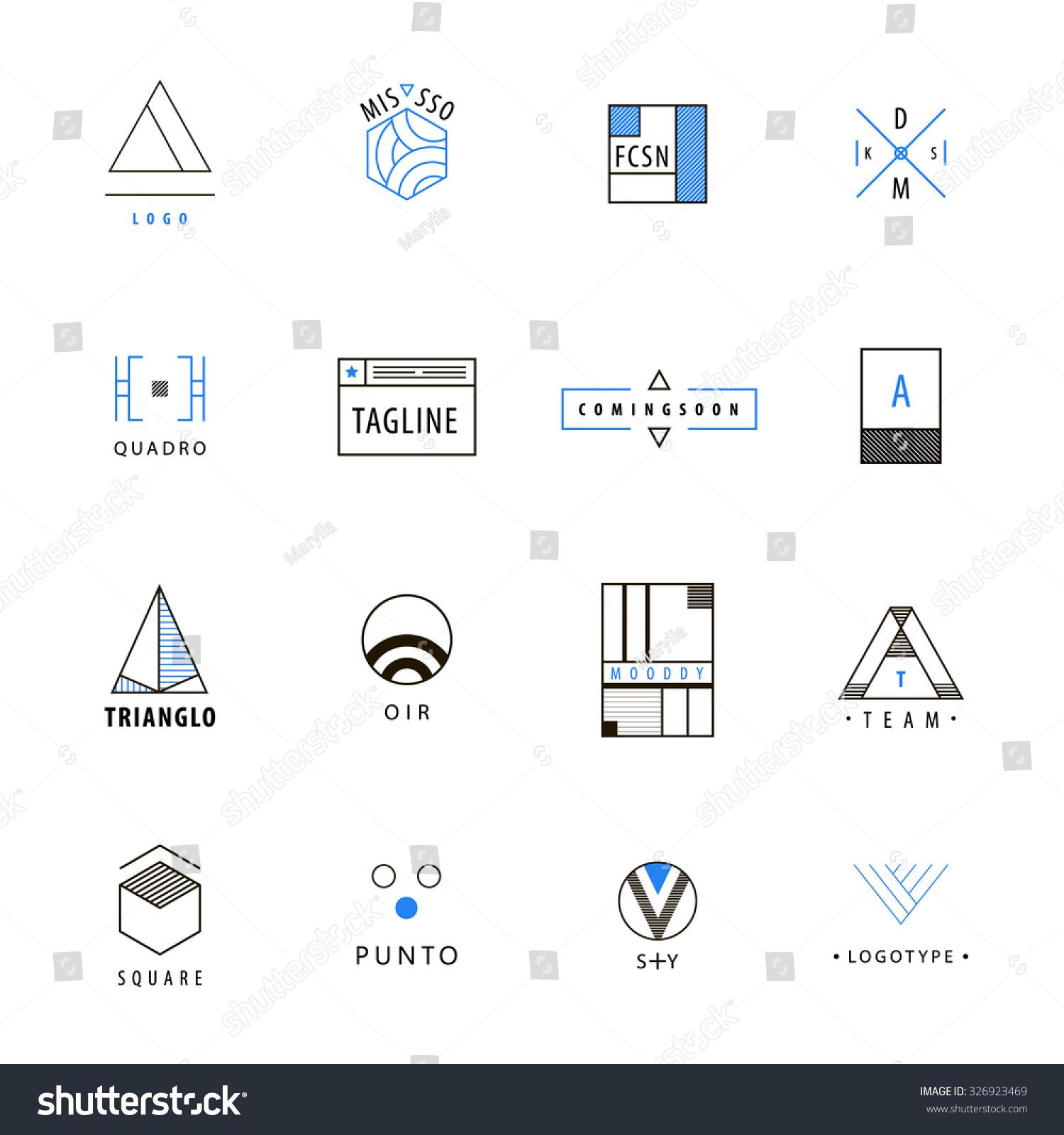 Vector Set Minimal Geometric Hipster Logos Vector de stock (libre de ... f60c795a4a5