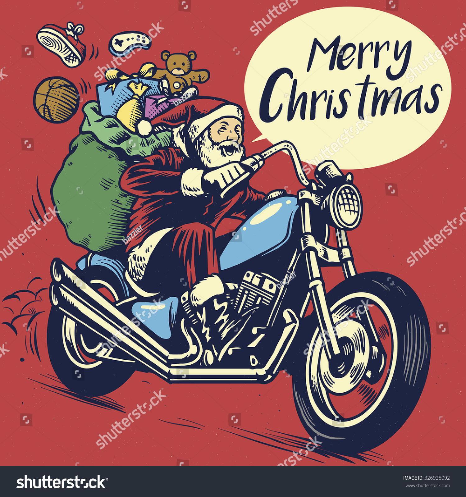 Hand Drawing Style Santa Claus Riding Stock Vector (Royalty Free ...