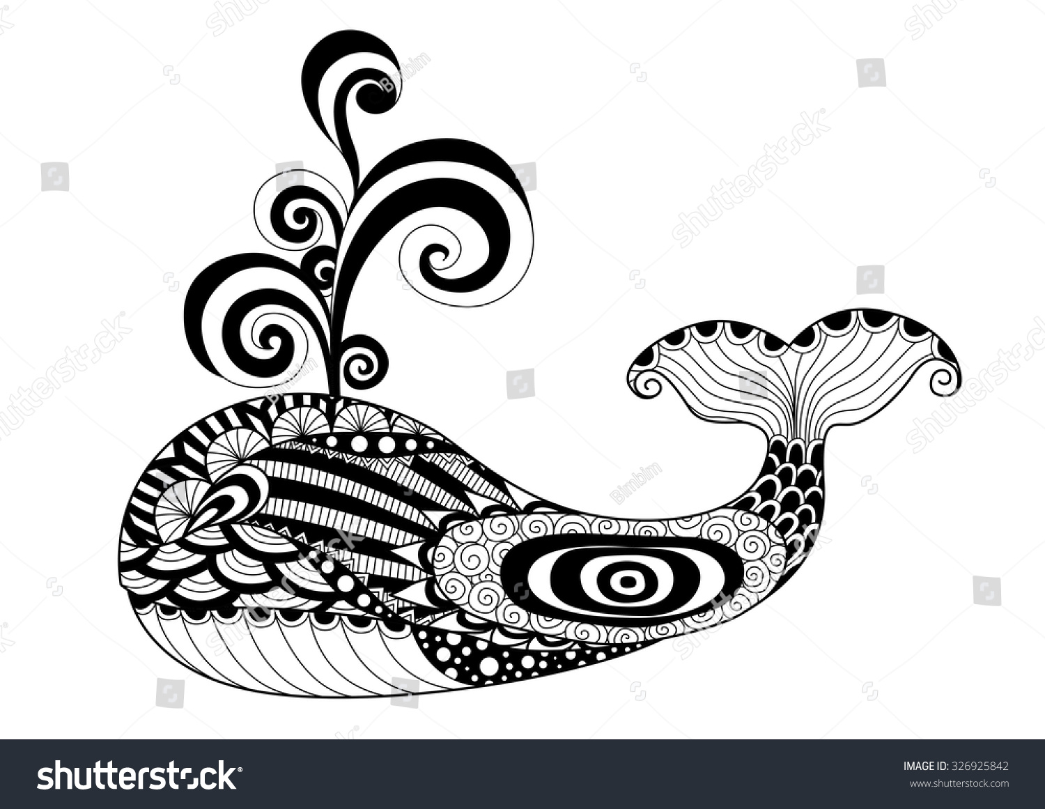Coloring book whale - Hand Drawn Zentangle Whale For Coloring Page Logo Pattern Tattoo And T Shirt