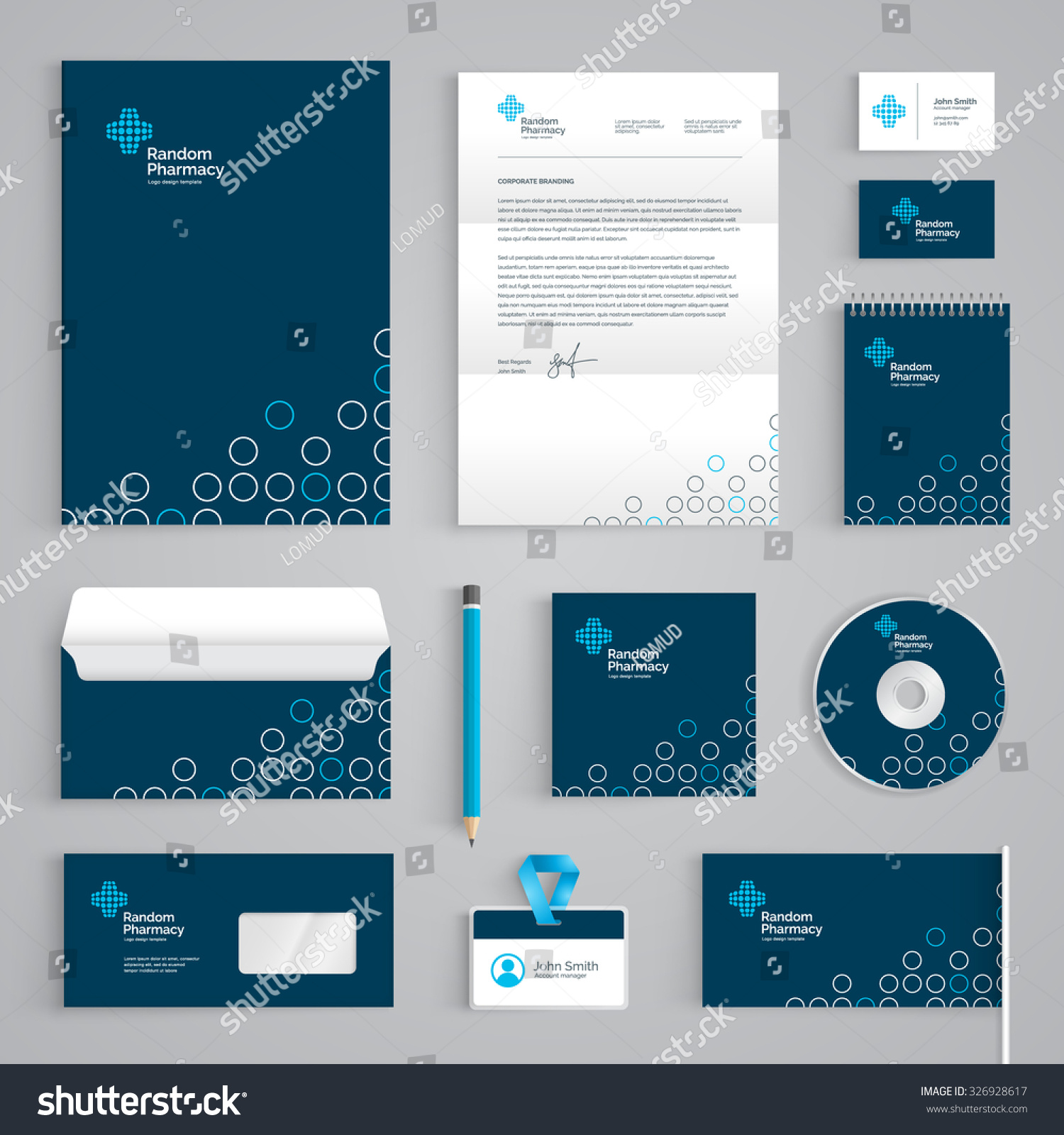 Corporate Identity Medical Branding Template Abstract Stock Vector